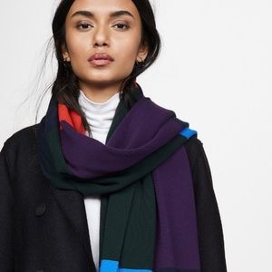 Tory Sport Ribbed Color Block Knit Scarf
